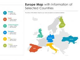 Europe Map With Information Of Selected Countries
