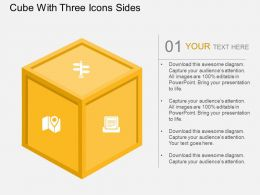 Ev Cube With Three Icons Sides Flat Powerpoint Design
