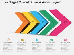 ev Five Staged Colored Business Arrow Diagram Powerpoint Template