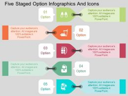 ev Five Staged Option Infographics And Icons Flat Powerpoint Design