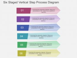 ev Six Staged Vertical Step Process Diagram Flat Powerpoint Design