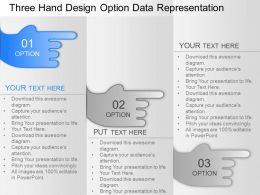 ev Three Hand Design Option Data Representation Powerpoint Template