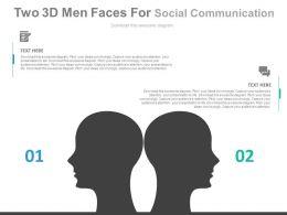 ev Two 3d Men Faces For Social Communication Flat Powerpoint Design