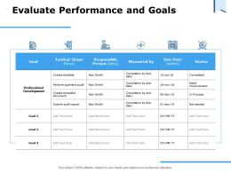 Evaluate Performance And Goals Professional Development Ppt Powerpoint Presentation Icon