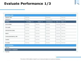 Evaluate Performance Ppt Powerpoint Presentation Summary Example