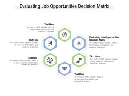 Evaluating Job Opportunities Decision Matrix Ppt Powerpoint Presentation Gallery Cpb