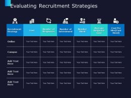 Evaluating Recruitment Strategies Management Marketing Ppt Powerpoint Presentation Summary Graphic Tips