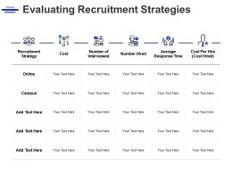 Evaluating Recruitment Strategies Online Management Ppt Powerpoint Presentation Gallery Examples