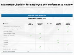 Evaluation Checklist For Employee Self Performance Review