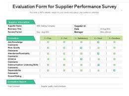 Evaluation Form For Supplier Performance Survey