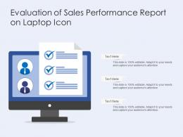 Evaluation Of Sales Performance Report On Laptop Icon