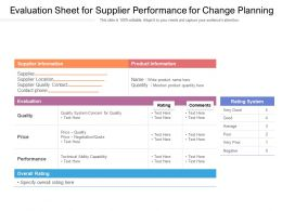 Evaluation Sheet For Supplier Performance For Change Planning