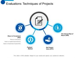 Evaluations Techniques Of Projects Payback Method Ppt Summary Designs Download