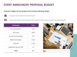 Event Announcer Proposal Budget Accommodations Ppt Powerpoint Slides