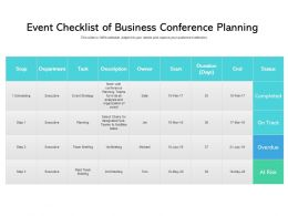Event Checklist Of Business Conference Planning