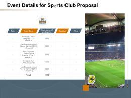 Event Details For Sports Club Proposal Ppt Powerpoint Presentation Slides Deck