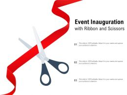 Event Inauguration With Ribbon And Scissors