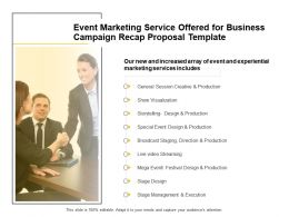 Event Marketing Service Offered For Business Campaign Recap Proposal Template Presentation Slides