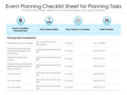 Event Planning Checklist Sheet For Planning Tasks
