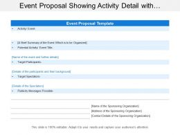 Event Proposal Showing Activity Detail With Target Participants And Spectators