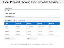 Event Proposal Showing Event Schedule Activities With Event Description And Total Budget