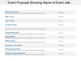Event Proposal Showing Name Of Event With Target Audience And Risk Assessment