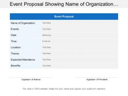Event Proposal Showing Name Of Organization With Expected Audience And Benefits