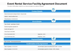 Event Rental Service Facility Agreement Document