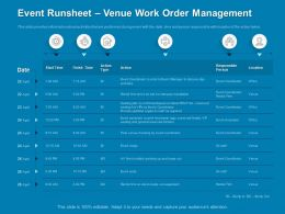 Event Runsheet Venue Work Order Management Location Powerpoint Presentation Display