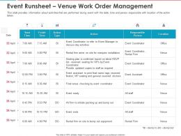Event Runsheet Venue Work Order Management Ppt Powerpoint Presentation Summary Examples