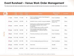 Event Runsheet Venue Work Order Management Responsible Ppt Powerpoint Presentation File Formats
