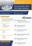 Event Speaker Sheet One Page Summary Presentation Report Infographic PPT PDF Document