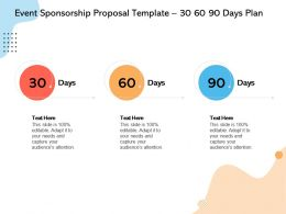 Event Sponsorship Proposal Template 30 60 90 Days Plan Ppt Powerpoint Presentation File