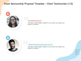 Event Sponsorship Proposal Template Client Testimonials L12243 Ppt Powerpoint Images