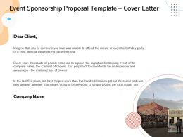 Event Sponsorship Proposal Template Cover Letter Ppt Powerpoint Presentation Template