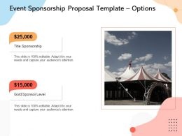 Event Sponsorship Proposal Template Options Ppt Powerpoint Presentation Icon Deck