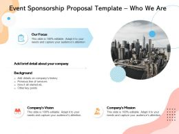 Event Sponsorship Proposal Template Who We Are Ppt Powerpoint Presentation Infographics