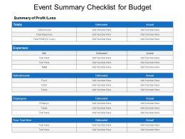 Event Summary Checklist For Budget