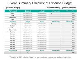 Event Summary Checklist Of Expense Budget 2