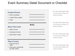 Event Summary Detail Document Or Checklist