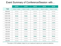Event Summary Of Conferencesession With Time Schedule