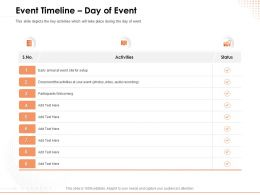 Event Timeline Day Of Event Participants Ppt Powerpoint Presentation