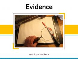 Evidence Representing Exhibiting Evaluation Magnify Glass Criminal