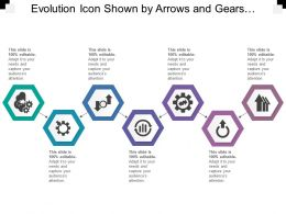Evolution Icon Shown By Arrows And Gears And Graph