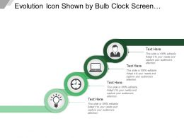Evolution Icon Shown By Bulb Clock Screen And Human