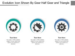Evolution Icon Shown By Gear Half Gear And Triangle