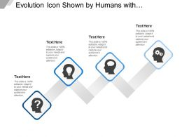 Evolution Icon Shown By Humans With Question Mark Bulb Gear