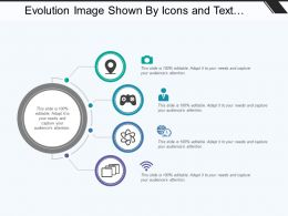 Evolution Image Shown By Icons And Text Boxes In Semicircular Form