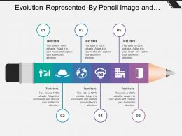 Evolution Represented By Pencil Image And Icon Imagery