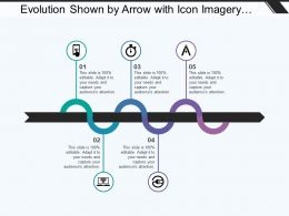 Evolution Shown By Arrow With Icon Imagery